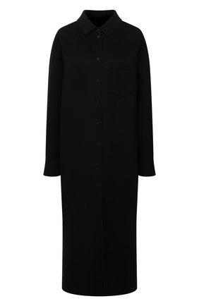 Женское пальто из шерсти и кашемира MANZONI24 черного цвета, арт. 21M309-DB1/48-52   Фото 1