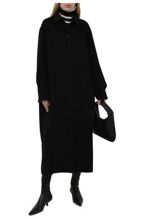 Женское пальто из шерсти и кашемира MANZONI24 черного цвета, арт. 21M309-DB1/48-52   Фото 2