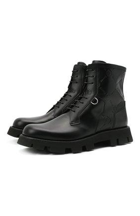 Мужские кожаные ботинки BERLUTI черного цвета, арт. S5536-001   Фото 1 (Подошва: Плоская; Материал внутренний: Натуральная кожа; Мужское Кросс-КТ: Ботинки-обувь, Байкеры-обувь)