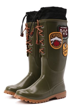 Мужские сапоги DSQUARED2 хаки цвета, арт. RBM0001 17204289 | Фото 1 (Материал внутренний: Текстиль; Материал внешний: Экокожа; Мужское Кросс-КТ: Сапоги-обувь; Подошва: Плоская; Высота голенища: Высокие)