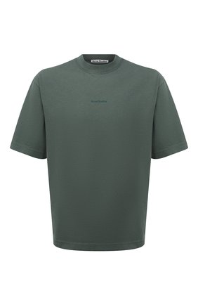 Мужская хлопковая футболка  ACNE STUDIOS зеленого цвета, арт. BL0278 | Фото 1 (Материал внешний: Хлопок; Принт: Без принта; Рукава: Короткие; Стили: Минимализм; Длина (для топов): Стандартные)