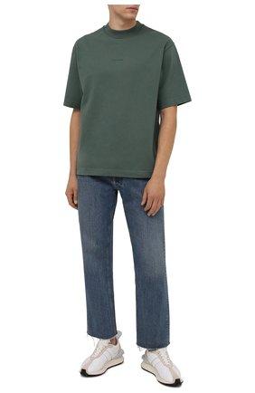 Мужская хлопковая футболка  ACNE STUDIOS зеленого цвета, арт. BL0278 | Фото 2 (Материал внешний: Хлопок; Принт: Без принта; Рукава: Короткие; Стили: Минимализм; Длина (для топов): Стандартные)