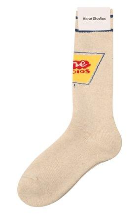 Женские хлопковые носки ACNE STUDIOS кремвого цвета, арт. C80104/W | Фото 1