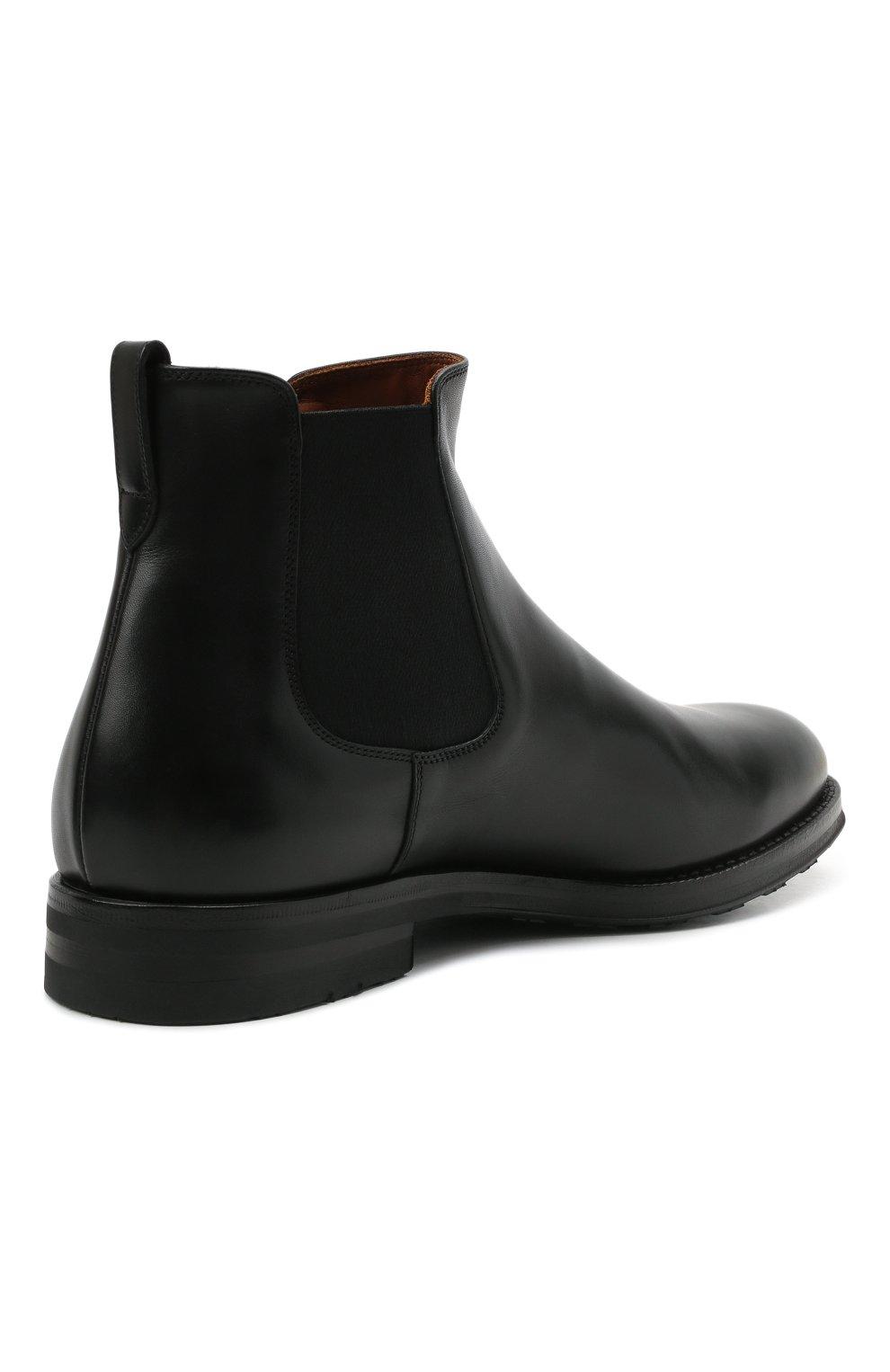 Мужские кожаные челси W.GIBBS черного цвета, арт. 0639028/2578 | Фото 4 (Материал внутренний: Натуральная кожа; Подошва: Плоская; Мужское Кросс-КТ: Сапоги-обувь, Челси-обувь)