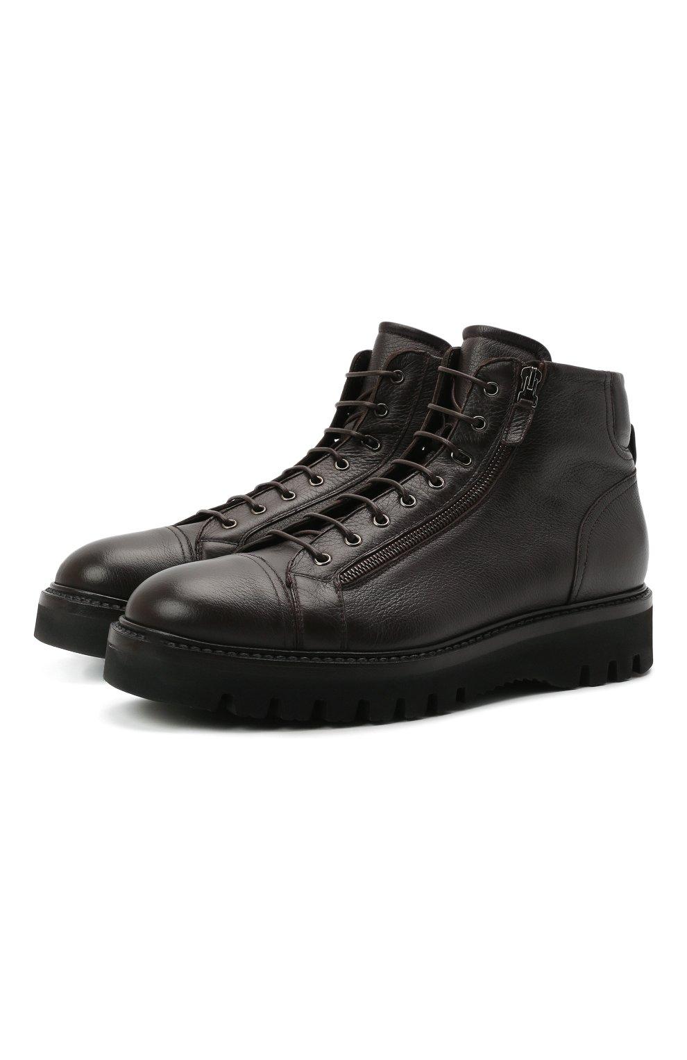 Мужские кожаные ботинки W.GIBBS темно-коричневого цвета, арт. 0672001/1541   Фото 1 (Мужское Кросс-КТ: Ботинки-обувь; Материал внутренний: Текстиль; Подошва: Массивная)