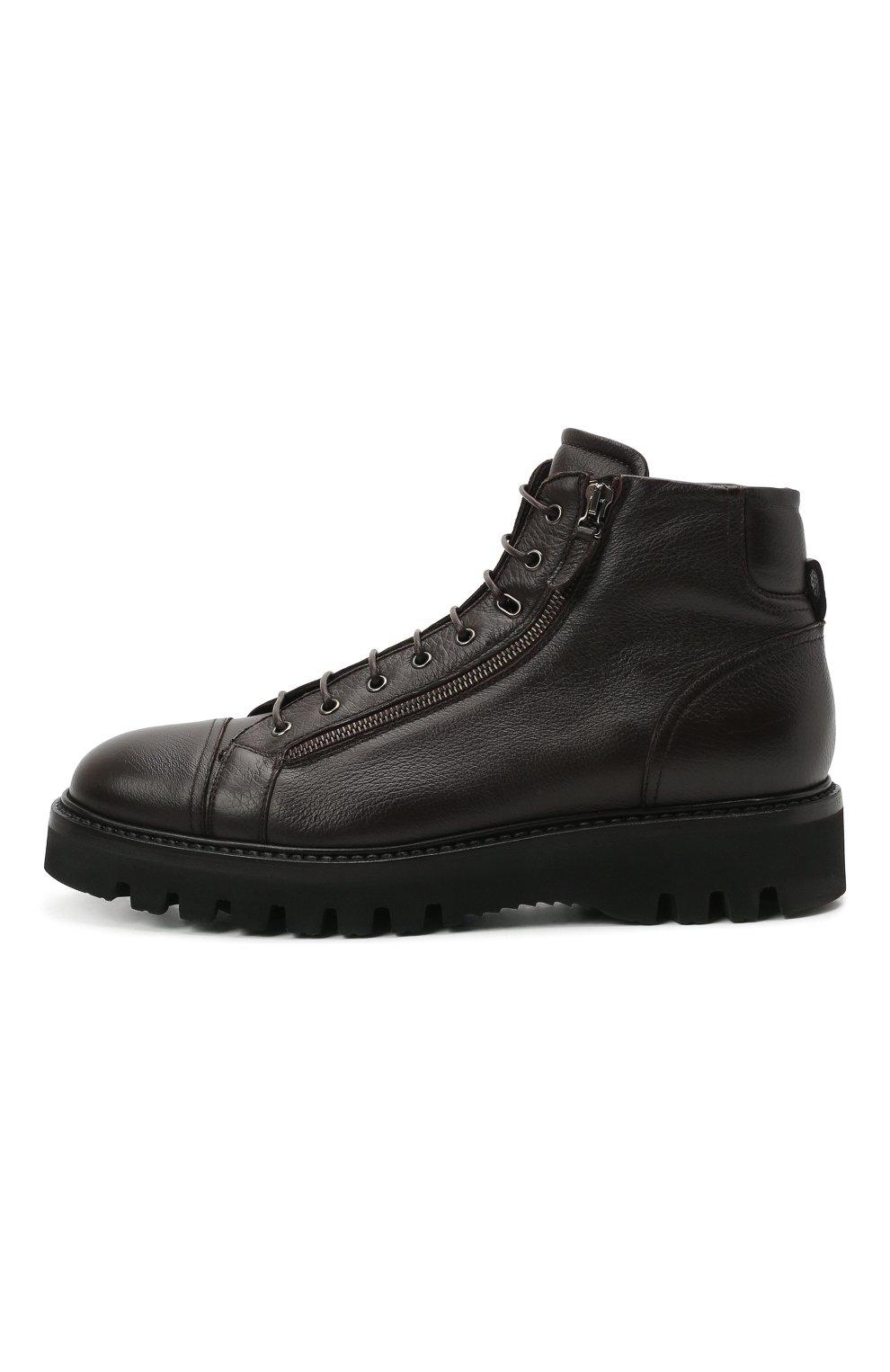 Мужские кожаные ботинки W.GIBBS темно-коричневого цвета, арт. 0672001/1541   Фото 3 (Мужское Кросс-КТ: Ботинки-обувь; Материал внутренний: Текстиль; Подошва: Массивная)