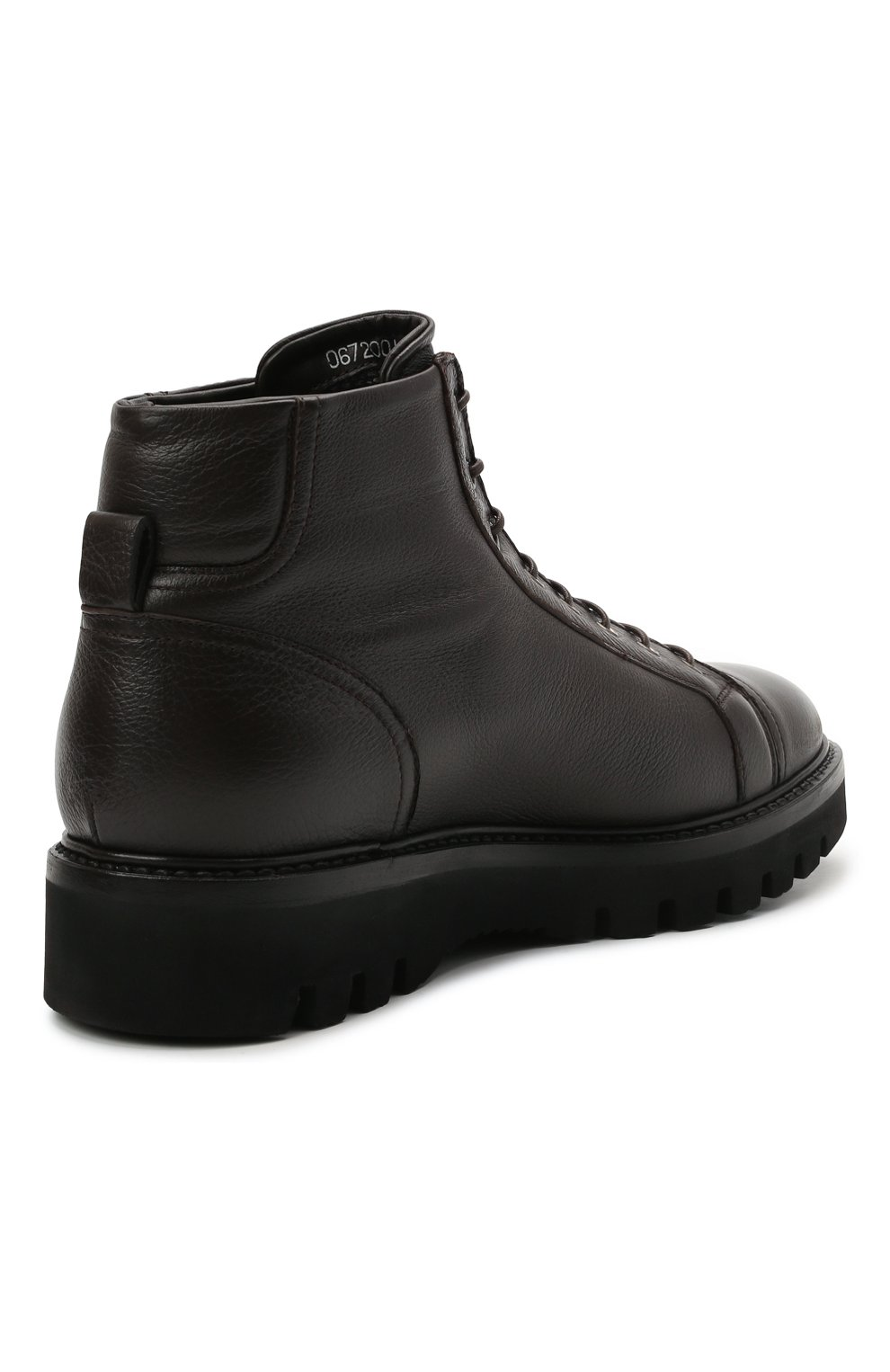 Мужские кожаные ботинки W.GIBBS темно-коричневого цвета, арт. 0672001/1541   Фото 4 (Мужское Кросс-КТ: Ботинки-обувь; Материал внутренний: Текстиль; Подошва: Массивная)