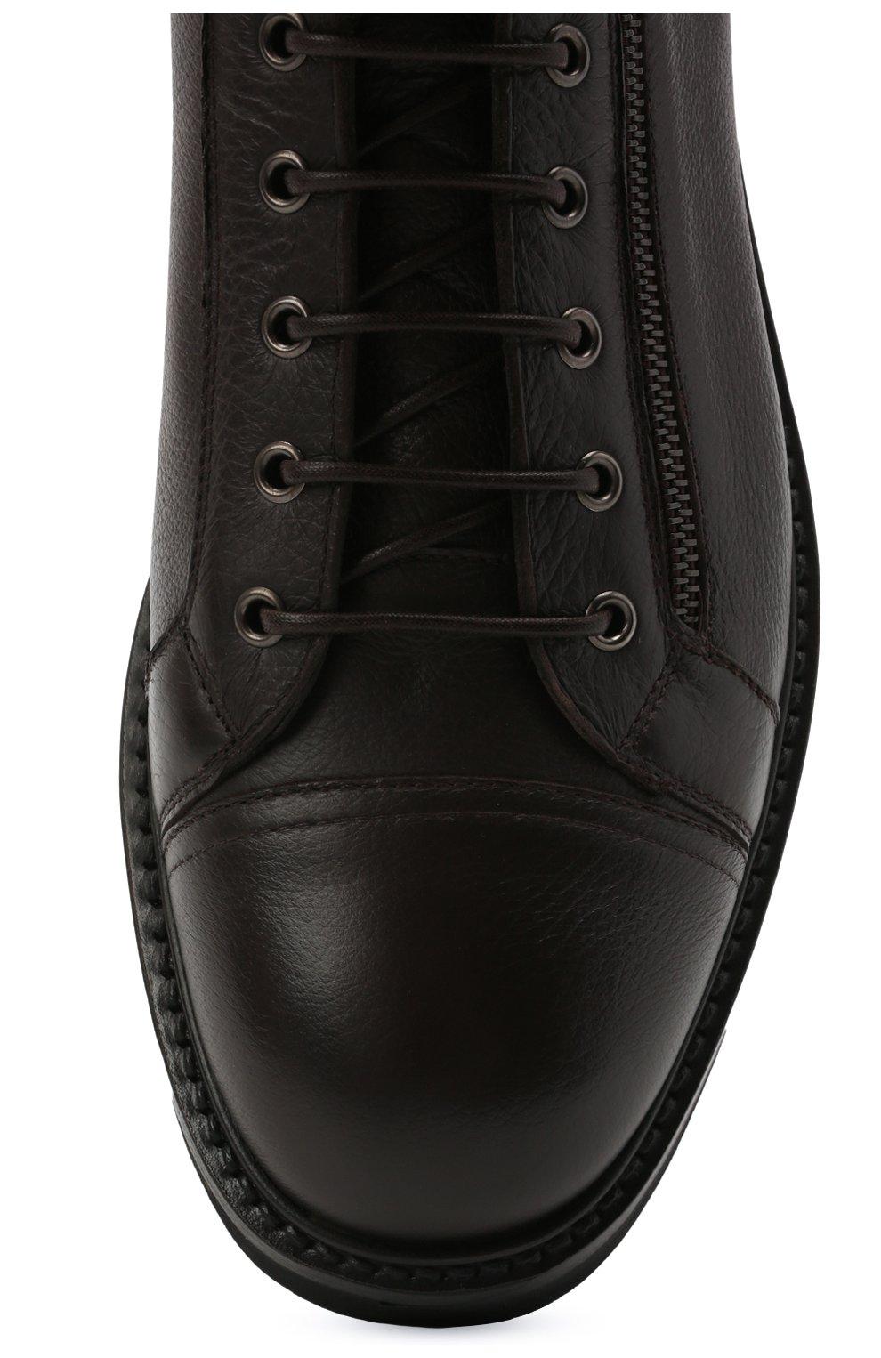 Мужские кожаные ботинки W.GIBBS темно-коричневого цвета, арт. 0672001/1541   Фото 5 (Мужское Кросс-КТ: Ботинки-обувь; Материал внутренний: Текстиль; Подошва: Массивная)
