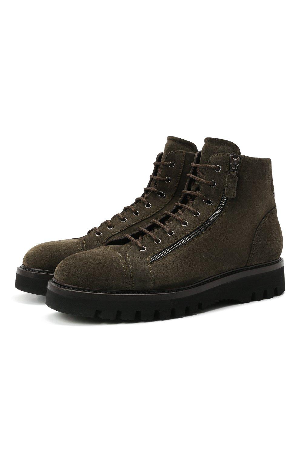 Мужские замшевые ботинки W.GIBBS хаки цвета, арт. 0672001/2576 | Фото 1 (Материал утеплителя: Натуральный мех; Мужское Кросс-КТ: Ботинки-обувь, зимние ботинки; Подошва: Массивная; Материал внешний: Замша)