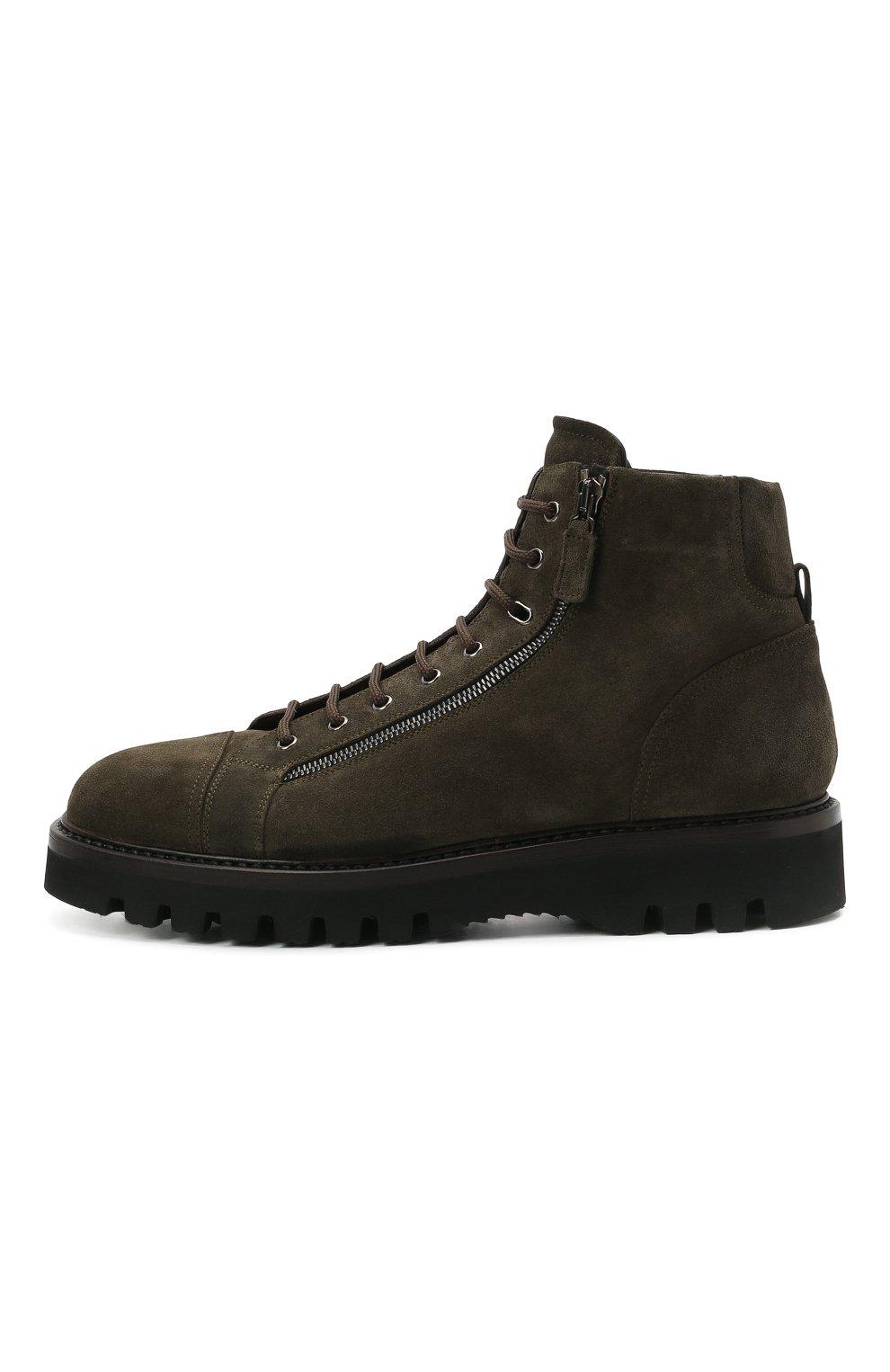 Мужские замшевые ботинки W.GIBBS хаки цвета, арт. 0672001/2576 | Фото 3 (Материал утеплителя: Натуральный мех; Мужское Кросс-КТ: Ботинки-обувь, зимние ботинки; Подошва: Массивная; Материал внешний: Замша)