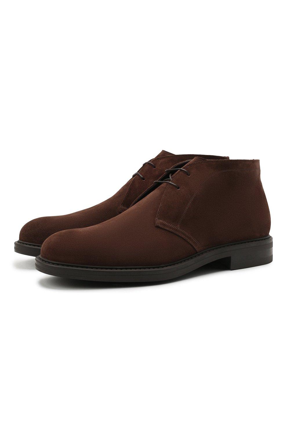 Мужские замшевые ботинки W.GIBBS коричневого цвета, арт. 3169005/2572 | Фото 1 (Материал утеплителя: Натуральный мех; Мужское Кросс-КТ: Ботинки-обувь, Дезерты-обувь, зимние ботинки; Подошва: Плоская; Материал внешний: Замша)