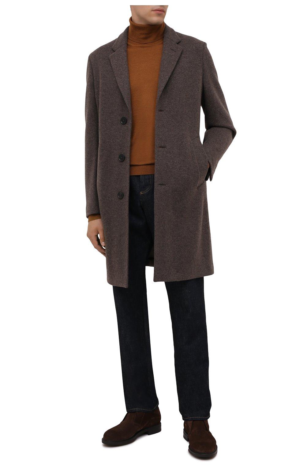 Мужские замшевые ботинки W.GIBBS коричневого цвета, арт. 3169005/2572 | Фото 2 (Материал утеплителя: Натуральный мех; Мужское Кросс-КТ: Ботинки-обувь, Дезерты-обувь, зимние ботинки; Подошва: Плоская; Материал внешний: Замша)