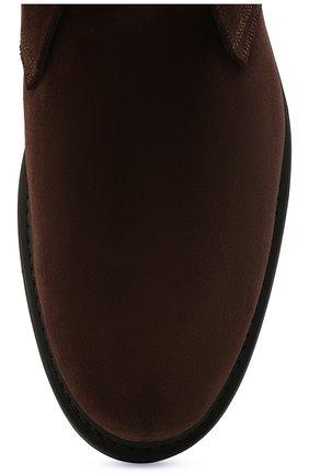 Мужские замшевые ботинки W.GIBBS коричневого цвета, арт. 3169005/2572 | Фото 5 (Материал утеплителя: Натуральный мех; Мужское Кросс-КТ: Ботинки-обувь, Дезерты-обувь, зимние ботинки; Подошва: Плоская; Материал внешний: Замша)