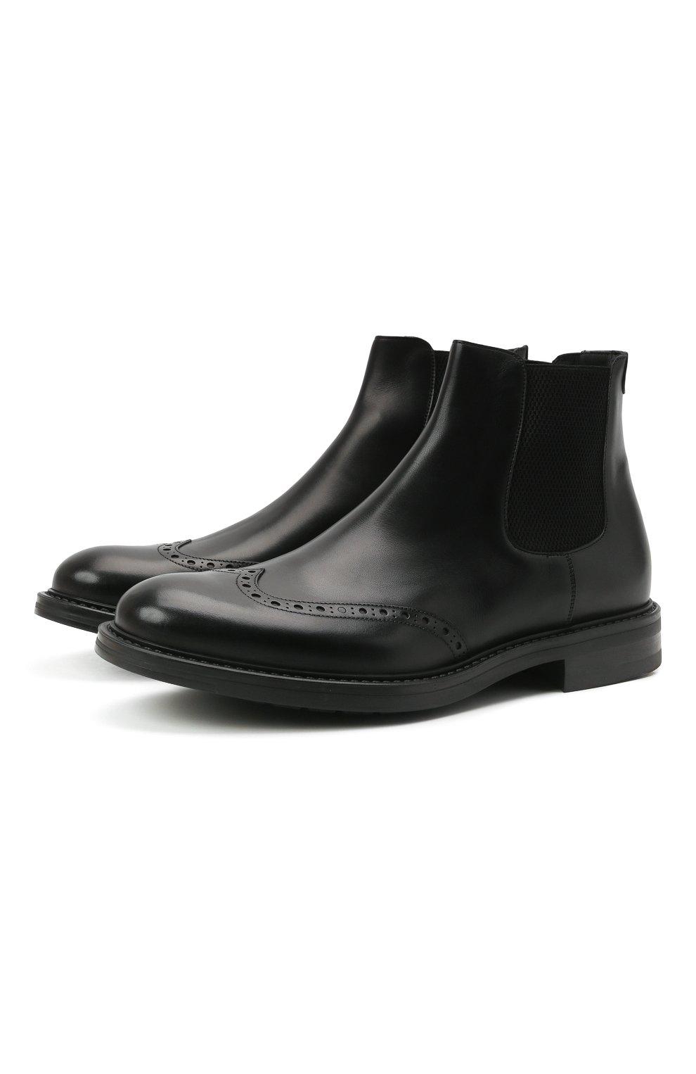 Мужские кожаные челси W.GIBBS черного цвета, арт. 3169016/0214 | Фото 1 (Материал внутренний: Натуральная кожа; Подошва: Плоская; Мужское Кросс-КТ: Сапоги-обувь, Челси-обувь)