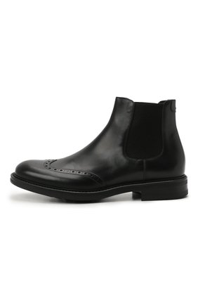 Мужские кожаные челси W.GIBBS черного цвета, арт. 3169016/0214 | Фото 3 (Материал внутренний: Натуральная кожа; Подошва: Плоская; Мужское Кросс-КТ: Сапоги-обувь, Челси-обувь)