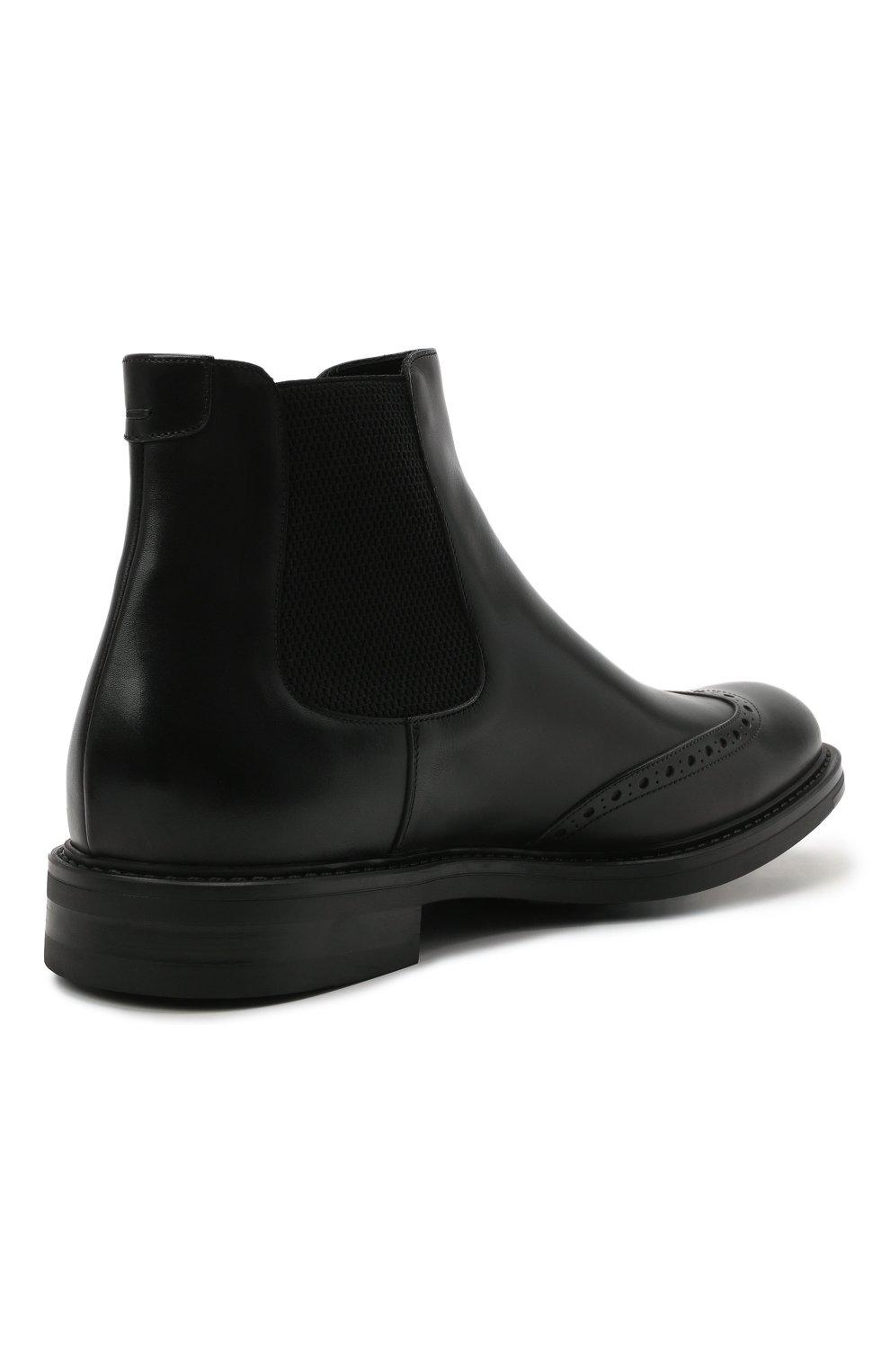 Мужские кожаные челси W.GIBBS черного цвета, арт. 3169016/0214 | Фото 4 (Материал внутренний: Натуральная кожа; Подошва: Плоская; Мужское Кросс-КТ: Сапоги-обувь, Челси-обувь)