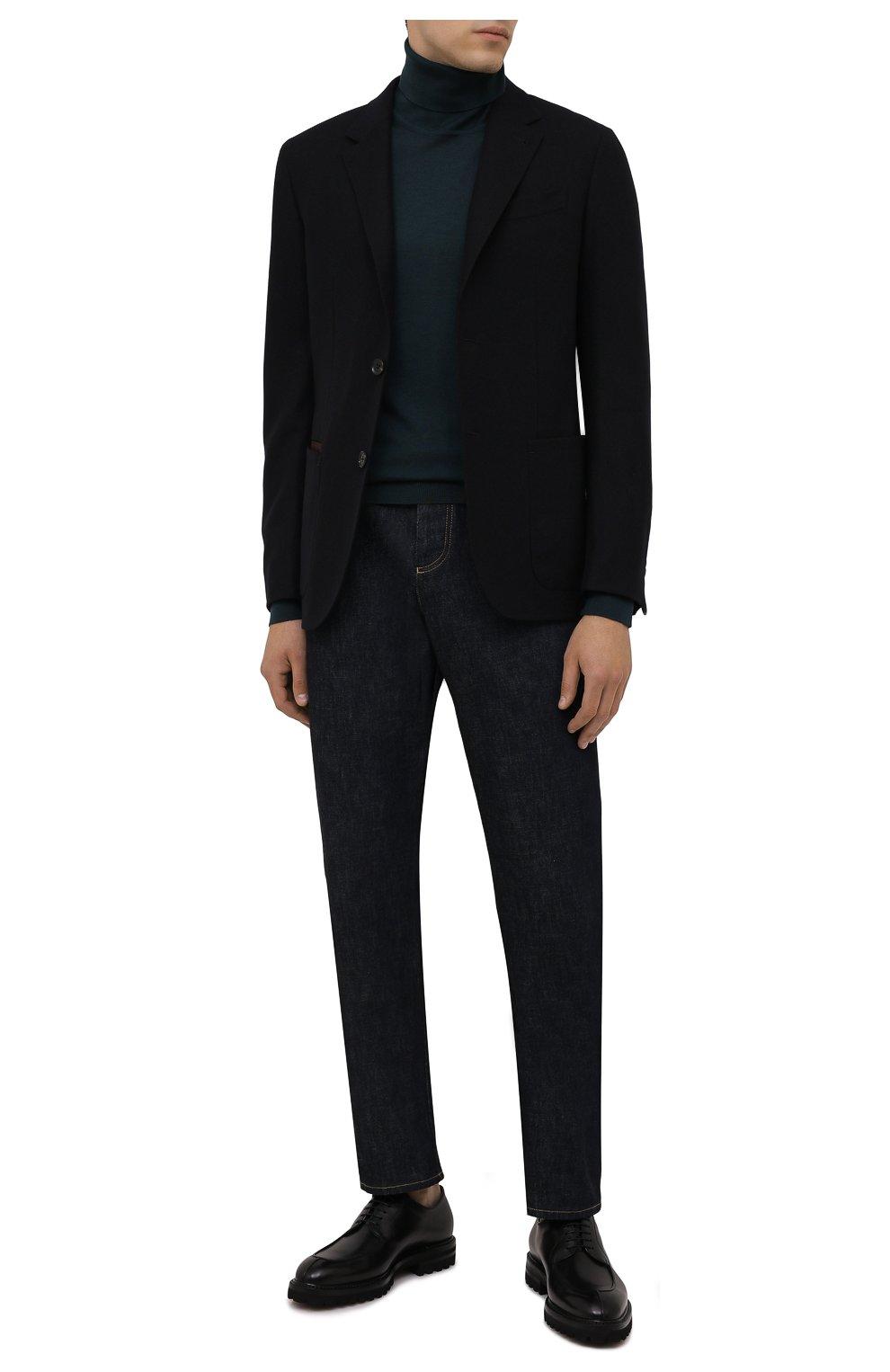 Мужские кожаные дерби W.GIBBS черного цвета, арт. 7260009/2573   Фото 2 (Материал утеплителя: Натуральный мех; Стили: Классический)