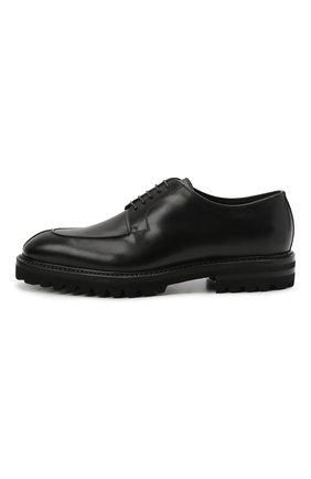 Мужские кожаные дерби W.GIBBS черного цвета, арт. 7260009/2573   Фото 3 (Материал утеплителя: Натуральный мех; Стили: Классический)