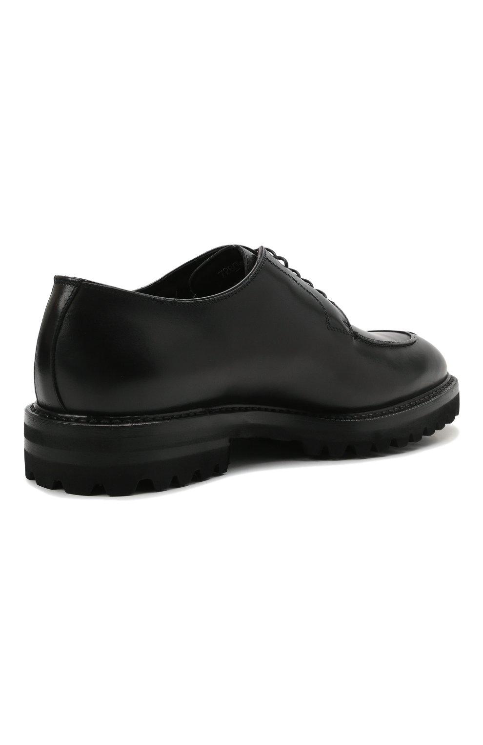 Мужские кожаные дерби W.GIBBS черного цвета, арт. 7260009/2573   Фото 4 (Материал утеплителя: Натуральный мех; Стили: Классический)