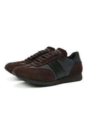 Мужские комбинированные кроссовки BRIONI темно-коричневого цвета, арт. QHL70L/09725   Фото 1