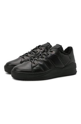Мужские кожаные кеды BOGNER черного цвета, арт. 12140263/C0L0GNE 8 | Фото 1 (Материал утеплителя: Натуральный мех; Подошва: Массивная)