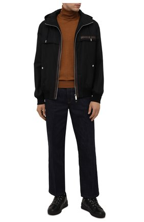 Мужские кожаные кеды BOGNER черного цвета, арт. 12140263/C0L0GNE 8 | Фото 2 (Материал утеплителя: Натуральный мех; Подошва: Массивная)