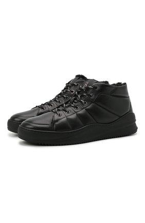 Мужские кожаные кеды BOGNER черного цвета, арт. 12140273/C0L0GNE 9 | Фото 1 (Материал утеплителя: Натуральный мех; Подошва: Массивная)