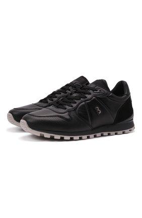 Мужские кожаные кроссовки BOGNER черного цвета, арт. 12140301/P0RT0 10 A | Фото 1 (Подошва: Массивная; Материал внутренний: Натуральная кожа; Стили: Классический)