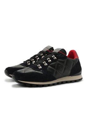 Мужские комбинированные кроссовки BOGNER темно-синего цвета, арт. 12140325/P0RT0 18 | Фото 1 (Материал внутренний: Натуральная кожа, Текстиль; Подошва: Массивная; Стили: Классический)