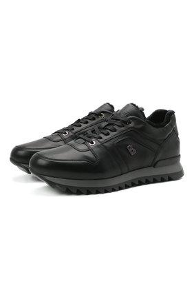 Мужские кожаные кроссовки BOGNER черного цвета, арт. 12140353/SEATTLE M 6 A | Фото 1 (Подошва: Массивная; Материал утеплителя: Натуральный мех; Стили: Классический)