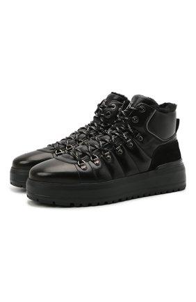 Мужские кожаные ботинки BOGNER черного цвета, арт. 12141503/ANTWERP M 4 D | Фото 1 (Материал утеплителя: Натуральный мех; Подошва: Массивная; Мужское Кросс-КТ: Ботинки-обувь, Хайкеры-обувь, зимние ботинки)