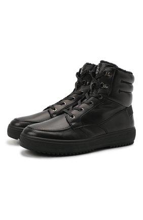 Мужские кожаные ботинки BOGNER черного цвета, арт. 12142273/ANCH0RAGE M 8 A | Фото 1 (Материал утеплителя: Натуральный мех; Подошва: Массивная; Мужское Кросс-КТ: Ботинки-обувь, зимние ботинки)