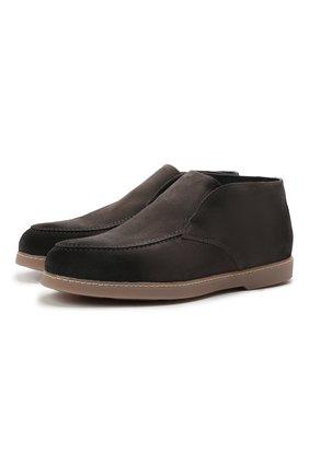 Мужские замшевые ботинки DOUCAL'S серого цвета, арт. DU2654ED0-UM024MN03 | Фото 1 (Материал утеплителя: Натуральный мех; Подошва: Плоская; Мужское Кросс-КТ: Ботинки-обувь, зимние ботинки; Материал внешний: Замша)