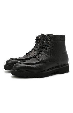 Мужские кожаные ботинки DOUCAL'S черного цвета, арт. DU2711PHILUM019NN00 | Фото 1 (Материал утеплителя: Натуральный мех; Подошва: Плоская; Мужское Кросс-КТ: Ботинки-обувь, зимние ботинки)