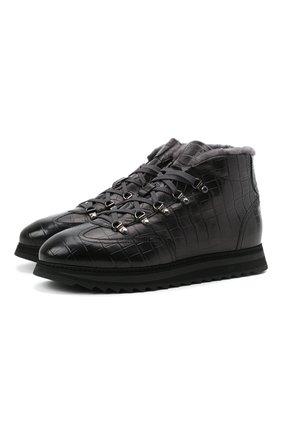 Мужские кожаные ботинки DOUCAL'S темно-серого цвета, арт. DU2881WINNUM0232N05 | Фото 1 (Подошва: Массивная; Материал утеплителя: Натуральный мех; Мужское Кросс-КТ: Ботинки-обувь, Хайкеры-обувь, зимние ботинки)