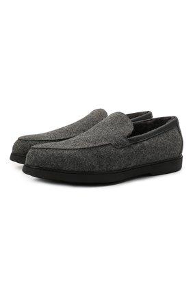 Мужские текстильные лоферы DOUCAL'S серого цвета, арт. DU2899ED0-PM343NN05 | Фото 1 (Материал утеплителя: Натуральный мех; Материал внешний: Текстиль; Стили: Кэжуэл)