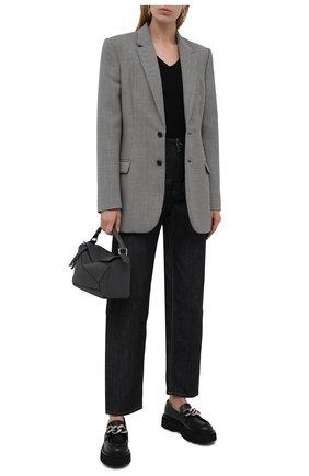 Женские кожаные лоферы CASADEI черного цвета, арт. 1D221T0401C15249000   Фото 2