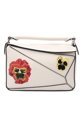 Женская сумка puzzle small LOEWE кремвого цвета, арт. A510S21X71 | Фото 1 (Материал: Натуральная кожа; Размер: medium, small; Сумки-технические: Сумки top-handle; Ремень/цепочка: На ремешке)