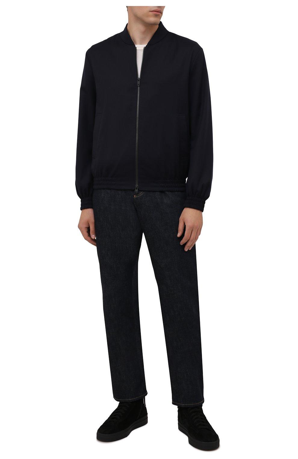 Мужские замшевые кеды SANTONI черного цвета, арт. MBGT21557NE0PRAUN01   Фото 2 (Материал утеплителя: Натуральный мех; Подошва: Массивная; Материал внешний: Замша)