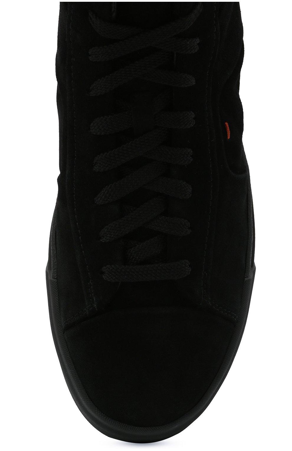 Мужские замшевые кеды SANTONI черного цвета, арт. MBGT21557NE0PRAUN01   Фото 5 (Материал утеплителя: Натуральный мех; Подошва: Массивная; Материал внешний: Замша)