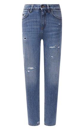 Женские джинсы DOLCE & GABBANA синего цвета, арт. FTCAKD/G902R | Фото 1 (Материал внешний: Хлопок; Длина (брюки, джинсы): Стандартные; Стили: Кэжуэл; Кросс-КТ: Деним; Силуэт Ж (брюки и джинсы): Слим)