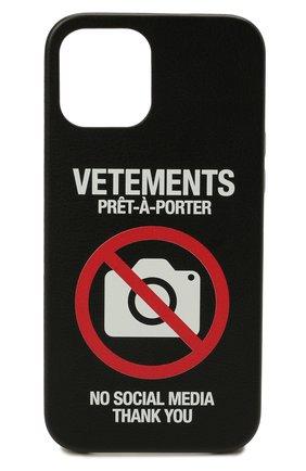 Чехол для iphone 12 pro max VETEMENTS черного цвета, арт. UA52SA400B 2410/M/BLACK 12 PR0 MAX | Фото 1