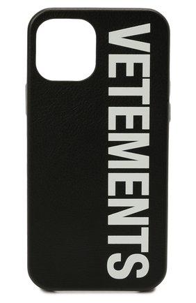 Кожаный чехол для iphone 12 pro VETEMENTS черного цвета, арт. UA52SA520W 2409/W/BLACK/WHITE 12 PR0   Фото 1 (Женское Кросс-КТ: Кожа iPhone)