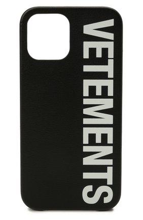 Кожаный чехол для iphone 12 pro max VETEMENTS черного цвета, арт. UA52SA500W 2409/W/BLACK/WHITE 12 PR0 MAX | Фото 1 (Женское Кросс-КТ: Кожа iPhone)