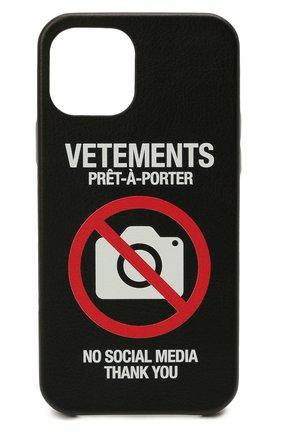 Чехол для iphone 12 pro VETEMENTS черного цвета, арт. UA52SA420B 2410/W/BLACK 12 PR0   Фото 1