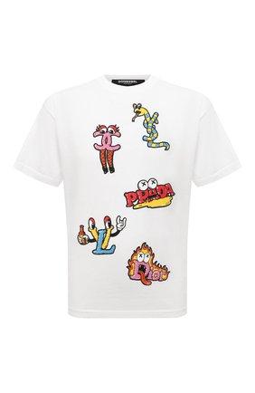 Мужская хлопковая футболка  DOMREBEL белого цвета, арт. MLUXURY/B0X T | Фото 1 (Длина (для топов): Стандартные; Материал внешний: Хлопок; Рукава: Короткие; Принт: С принтом; Стили: Гранж)