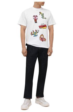 Мужская хлопковая футболка  DOMREBEL белого цвета, арт. MLUXURY/B0X T | Фото 2 (Длина (для топов): Стандартные; Материал внешний: Хлопок; Рукава: Короткие; Принт: С принтом; Стили: Гранж)