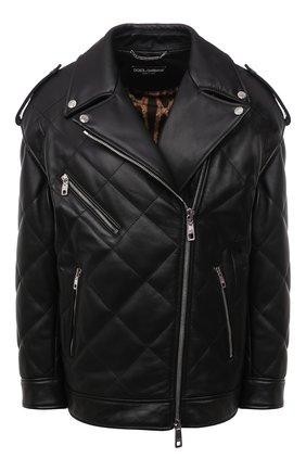 Женская кожаная куртка DOLCE & GABBANA черного цвета, арт. F9I95L/HULMZ | Фото 1