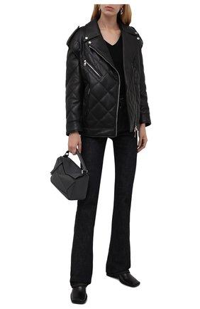 Женская кожаная куртка DOLCE & GABBANA черного цвета, арт. F9I95L/HULMZ | Фото 2