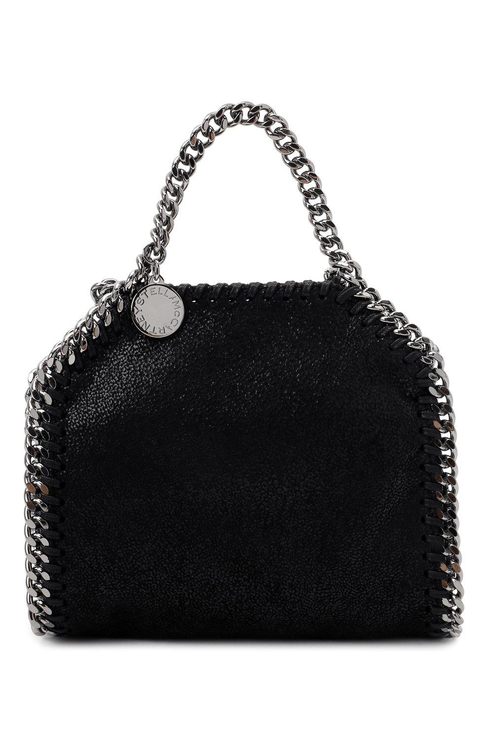 Женская сумка falabella STELLA MCCARTNEY черного цвета, арт. 700227/W9132   Фото 1 (Ремень/цепочка: С цепочкой; Сумки-технические: Сумки top-handle; Размер: mini; Материал: Текстиль)